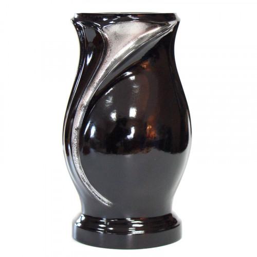 Ваза ритуальная №3 чёрная с серебром
